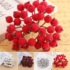 Mini Cute Xmas Foam Frosted Fruit Artificial Holly Berry Flower Home Decor x 40