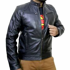 Vintage Retro Mens Moto Cafe Racer Biker Genuine Black & Brown Leather Jacket
