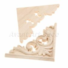 1pc/4pcs Unpainted Wood Carved Decal Corner Onlay Applique Frame Furniture Decor