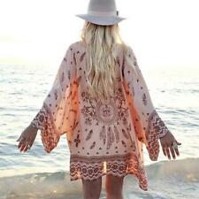 Beach Cover-up Women's Swimming Suit Flower Print Loose Floral Chiffon Blouse