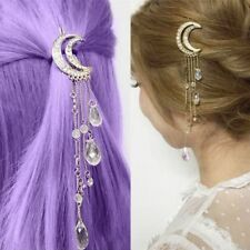 Moon Crescent Hair Clip Natural Crystal Pendant Hairpin Jewelry