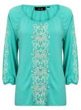 LADIES TOP WOMENS 3/4 SLEEVE EMBROIDERED NEW SHIRT BLOUSE FASHION LOOSE