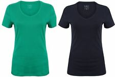 EX STORE 100% COTTON  T-SHIRT TOP BLOUSE TEE NEW LADIES WOMENS V NECK LARGE