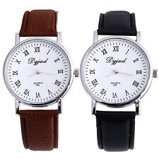 Mens Black Or Brown Leather Band Wrist Watch Analog Quartz Top Brand Luxury New