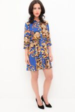 Ladies Paisley Scarf Print Shirt Dress Baroque Sleeve Belt Tie Button Night Out