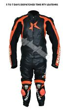 MEN COWHIDE MOTORCYCLE LEATHER RACING SUIT MOTORBIKE SUIT CE APROVE PROTECTION