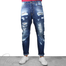 Pantalone Uomo Jeans Stonewashed Cinque Tasche Rotture Toppe Denim GIOSAL