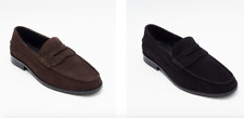Lucini Mens Leather Penny Loafer Slip On Shoes  Black & Brown Suede All Sizes