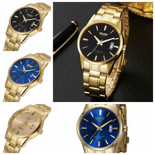 Men Stainless Steel Band Watch Luxury Casual Analog Quartz Gold Wrist Watches FR