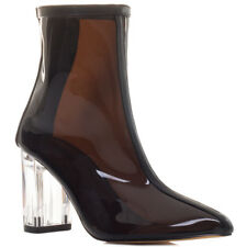 Womens Pointed Toe Zip Block Heel Ankle Boots Shoes