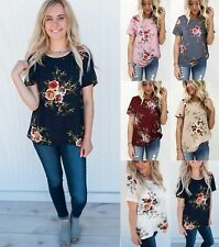 Summer Floral Top For Women Ladies Short Sleeve Blouse Flower Party T-shirt Tee