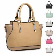 Ladies Stylish Fx Leather Two Tone Handbag Shoulder Bag Bucket Bag MA36073