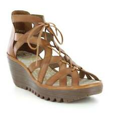 Fly London Yeli Womens Leather Lace Up Wedge Sandals - Tan