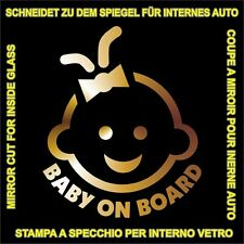adesivo prespaziato  BIMBO A BORDO BABY ON BOARD A SPECCHIO pre-spaced sticker