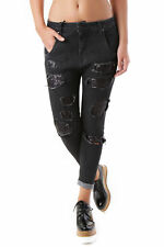 GR 69058 Nero jeans donna sexy woman sexy woman donna jeans con effetto sbiadito