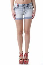 GR 64133 Azzurro shorts donna 525 525 donna shorts con zip frontale effetto sbia