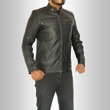 MENS VINTAGE CAFE RACER RETRO MOTO BLACK BROWN GENUINE LEATHER REAL BIKER JACKET