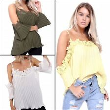 Womens Off The Shoulder Lace Applique Trim Pleated Floaty Summer Holiday Top