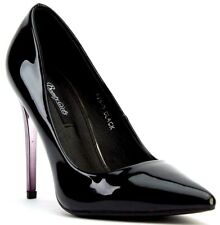LADIES BLACK GLOSS PATENT HEEL SMART POINTED PARTY WORK COURT SHOES PUMPS SIZE