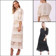 URBAN MIST Womens Lace Pleated Ruffle Maxi Skirt and Blouse Top Co-Ord Set