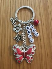STUNNING BUTTERFLY KEYRING, charm, THANK YOU TEACHER gift, PERSONALISED, bag