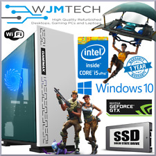White Gaming PC Quad Core i5 GTX 1050 Ti 16GB Windows 10 Desktop Computer GTX