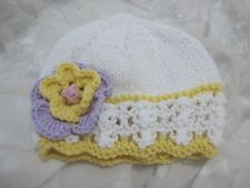 HAND KNITTED BABY HAT WHITE /LEMON LACY FLOWER COOL COTTON SUMMER AGE NB-24 MTHS