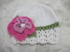 HAND KNITTED BABY HAT WHITE / PINK LACY FLOWER COOL COTTON SUMMER AGE NB-24 MTHS
