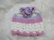 HAND KNITTED BABY HAT WHITE,LILAC,PINK LACY  COOL COTTON SUMMER AGE NB-24 MTHS