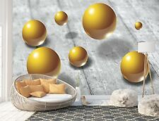 Abstract Golden Spheres Wall Mural Photo Wallpaper Picture EASY-INSTALL Fleece