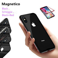 Shockproof Magnetico Metal Paraurti Vetro Indietro Caso Cover Per iPhone X 8 7