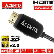HDMI 4K Cable Braided 2.0 High Speed 18Gbps Gold Plated Connectors Lead 3D HDTV