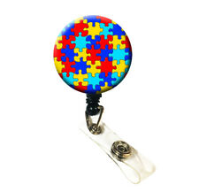 Retractable Name ID Badge Holder Reel - Autism Awareness Puzzle