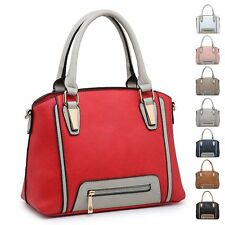 Ladies Stylish Faux Leather Two Tone Handbag Zip Shoulder Bag Bucket Bag MA36050