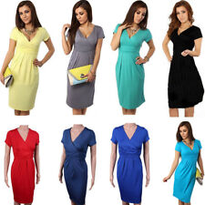 Sexy Women Pregnant Maternity Dress V-Neck Slim Bodycon Dresses Short Sleeve