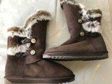 Ugg Boots Womens Australian Sheepskin with fur Button Uggs Chocolate Colour