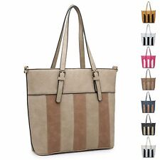 Ladies Stylish Fx Leather Striped Panel Handbag Shoulder Bag Bucket Bag MZ-60013