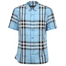 0315W camicia uomo BURBERRY LONDON ENGLAND pale blue shirt linen men