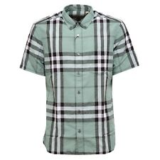 0301W camicia uomo BURBERRY LONDON ENGLAND green shirt linen men