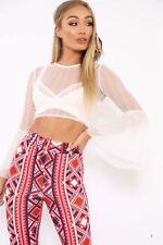 UK Striped Sheer Mesh Crop Top Flare Sleeves Crew Neckline Blouse Party