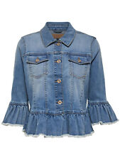 GR 88640 Denim giacca donna only frill denim jacket 15148392 only - giacchetto d