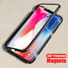 For iPhone X 7 8 Plus Bumper Case Metal Magnetic Adsorption Tempered Glass Cover