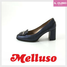 MELLUSO DECOLTE' DONNA PELLE COLORE BLU NOTTE TACCO H 7 CM MADE IN ITALY