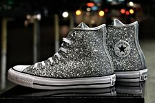 Converse Chuck Taylor Trainers Grey Hi Glitter All Star Shoes Sz 5.5-7 UK 38-40