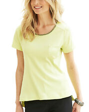 WOMENS NEW APPLE GREEN JERSEY TOP T SHIRT BLOUSE EMBELLISHED UK PLUS SIZE 18 20
