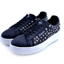 shoes sneakers Blauer MELLS woman leather black studs gold
