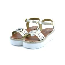 Sandales chaussures Soldini femme cuir or platine or caoutchouc blanc