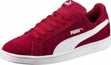 Mens Womens Puma Smash SD Tibetan Red White Suede Lace Up Casual Trainers