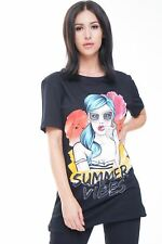 Ladies Cotton T-Shirt Face Girl Summer Vibes Print Longline Round Neck Night Out