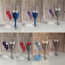 WEDDING PARTY BRIDE AND GROOM TOASTING CHAMPAGNE FLUTES GLASSES WEDDING GIFT